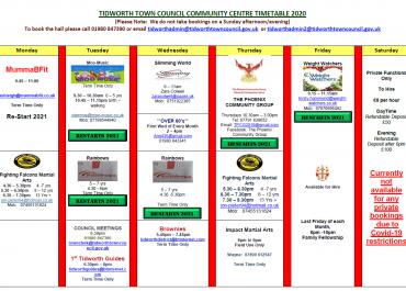Community Centre Groups UPDATE